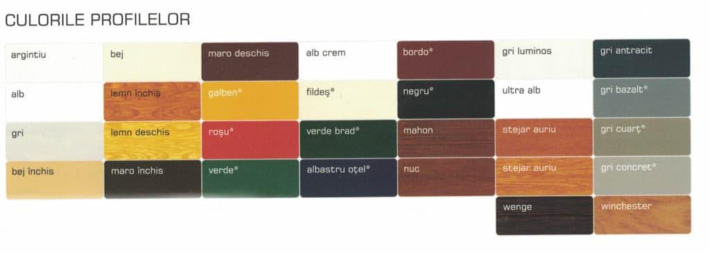 Culori preferentiale pentru rulouri exterioare suprapuse
