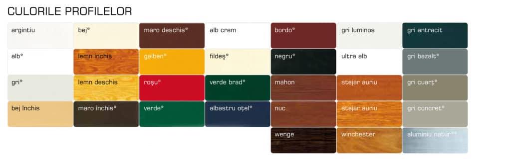 Culori rulouri exterioare aplicate