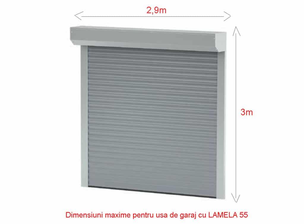 Usa de garaj cu dimensiuni maxime de 2,9m lungime si 3m inaltime